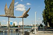 Steel Bird Sculptures On Dunikowskiego Boulevard Along River Odra; Wroclaw, Poland