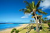 A lifeguarding station on a beach along the coastline of the Island of Hawaii