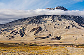 Mt. Griggs rises above the ash- and pumice-covered Valley of Ten Thousand Smokes in Katmai National Park; Alaska, United States of America