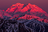 Alpenglow shines on Denali at sunrise, viewed from a ridge near Polychrome Mountain in Denali National Park; Alaska, United States of America