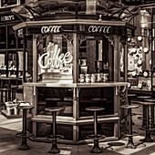 Coffee stall in a shopping mall; Leeds, West Yorkshire, England