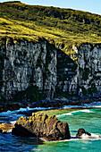Rugged Cliffs Along The Coastline Of Northern Ireland; Ballintoy, Ireland