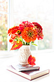 Zinnia's Composed On A Lovely Wide Window Sill; Surrey, British Columbia, Canada
