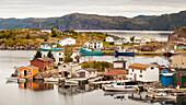 A fishing village with colourful sheds and houses along the Atlantic coastline; Bonavista, Newfoundland, Canada