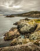 Rugged cliffs and rocks along the Atlantic coastline; Newfoundland, Canada