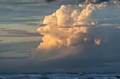 Clouds build up along the Oregon Coast over the horizon; Seaside, Oregon, United States of America