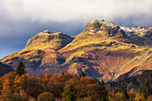 Langdale Pikes, rugged mountains with autumn coloured trees in the valley; Langdale, Cumbria, England