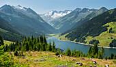 View from the Gerlos Pass on the memory Durlassboden reservoir, Rich tip, Hohe Tauern, Salzburg, Austria
