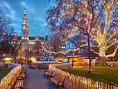 Christmas Market in front of the town hall, town hall park, 1. District of the inner city, Vienna, Austria