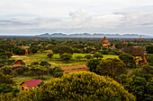The most famous archaeological site in Myanmar is the valley of Bagan (also spelled Pagan), Mandalay Region, Myanmar, where thousands of ancient Buddhist temples and pagodas rise above the arid plains. The site is one of the most popular tourists destinat