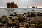 Beautiful natural scenery of Second Beach with islands and rocks at sunset, La Push, Washington State, USA