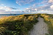 Footpath along coastline at sunset at Sillon de Talbert, Pleubian, Brittany, France