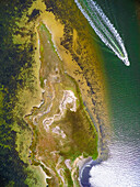 Aerial view drone of Nantucket coastline with motorboat travelling along, Massachusetts, USA