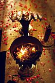 Candle light at night ceremony, Varanasi, Uttar Pradesh, India