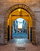 Arched entrance through city walls to medina old town, Essaouira, Marrakesh-Safi, Morocco