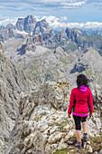View from Rifugio Lagazuoi, Falzarego Pass, Cortina d'Ampezzo, Dolomiti, Dolomites, Belluno Province, Veneto District, Italy