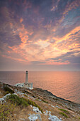 Otranto, province of Lecce, Salento, Apulia, Italy, Sunrise at the lighthouse Faro della Palascìa,the most easterly point of the Italian mainland
