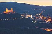 Europe,Italy,Umbria,Perugia district, Spoleto, Rocca Albornoziana fortress at dusk