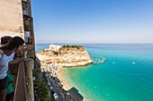 Tropea, Province of Vibo Valentia, Calabria, Italy, The famous view from Villetta di Liano towards the Santa Maria dell'Isola