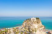 Tropea, Province of Vibo Valentia, Calabria, Italy, The Santa Maria dell'Isola seen from Piazza del Cannone