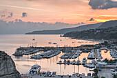 Tropea, Province of Vibo Valentia, Calabria, Italy, The harbor of Tropea at dawn