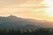 Pienza, Orcia Valley, Tuscany, Italy, Europe, View of Rocca d'Orcia at sunset