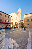 Pienza, Orcia Valley,Siena district, Tuscany, Italy,Europe, The shaft of Piazza Pio II
