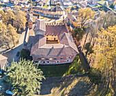 Cozzo, Province of Pavia, Lombardy, Italy, An aerial view of Cozzo's Castle