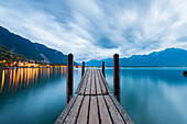 The little harbor of Chillon, Canton of Vaud, Switzerland, Swiss alps