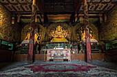 Buddhist statues inside one of Erdene Zuu monastery temples, Harhorin, South Hangay province, Mongolia