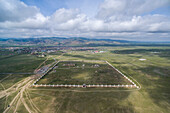 Aerial view of the ruins of the ancient Erdene Zuu Buddhist monastery, Harhorin, South Hangay province, Mongolia