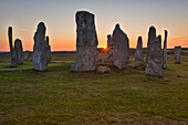 Standing stones erected in the late Neolithic at sunset,Callanish,Isle of Lewis, western scotland,United Kingdom