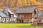 Little houses in Crampiolo, Alpe Devero, Alpe Veglia and Alpe Devero Natural Park, Baceno, Verbano Cusio Ossola province, Piedmont, Italy
