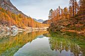 The small lake near Crampiolo known as Witches Lake, Alpe Veglia and Alpe Devero Natural Park, Baceno, Verbano Cusio Ossola province, Piedmont, Italy