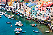 Italy, Campania, Province of Naples, Procida, Tilt-Shift Effect at Corricella