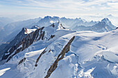 The glaciers of Mount Blanc from an aerial view, Chamonix, France, Europe