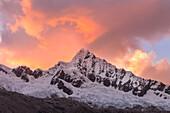 The West face of Alpamayo Nevado peak at sunset, Ancash, Cordigliera Blanca, Perù