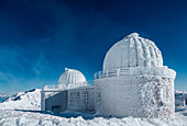 Astronomical observatory during an ice and wind storm, Campo Imperatore, L'Aquila province, Abruzzo, Italy, Europe