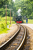 Rugen Island, Baltic coast, Mecklenburg-Western Pomerania, Germany, The historical Rugensche Baderbahn steam train called 'Rasender Roland'
