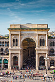 Milan, Lombardy, Italy, Front view of the entrance to the Galleria Vittorio Emanuele II
