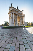 a view of the Arco della Pace, a triumphal arch in white marble, Milan province, Lombardy, Italy