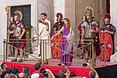 representation of a roman senator and wife in central square (peristyle) of Diocletian Palace in Split, Dalmatia, Croatia