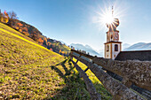 The alpine church of St, Georg in Pliscia / Plaiken, Marebbe / Enneberg, Bolzano, Alto Adige, Südtirol, Italy