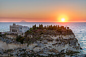 Tropea, province of Vibo Valentia, Calabria, Italy, Europe, Sanctuary of Santa Maria Island at sunset