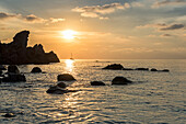 Zambrone, province of Vibo Valentia, Calabria, Italy, Europe, Sunset on the beach Lion's rock