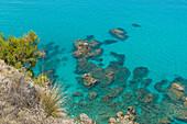 Ricadi, province of Vibo Valentia, Calabria, Italy, Europe, Cliffs on the beach of Riaci