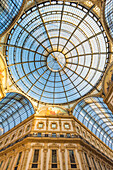 Milan,Lombardy,Italy The view of the dome of the Vittorio Emanuele gallery