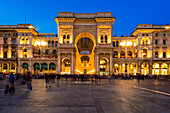 Milan, Lombardy, Italy, The facade of the Gallery Vittorio Emanuele