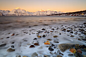 Cloudless sunrise with ice covering the stones on the shore of Balsfjorden, Markenes, Balsfjorden, Lyngen Alps, Troms, Norway, Lapland, Europe