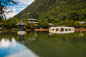 Arched bridge at Black Dragon Pool, Lijiang, Yunnan Province, China, Asia, Asian, East Asia, Far East